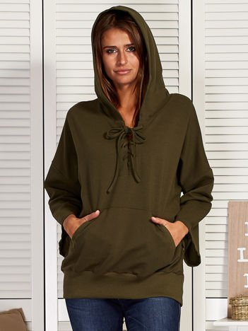 Bluza damska ze sznurowanym dekoltem khaki
