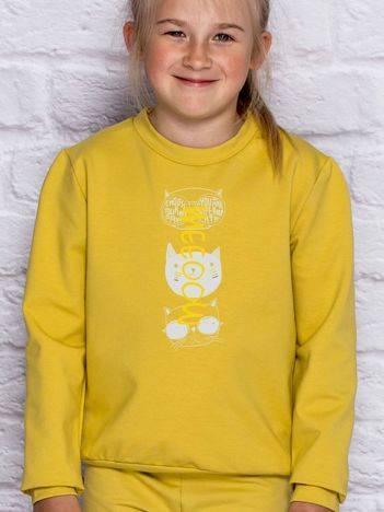 Bluza dla dziewczynki z kocim nadrukiem miodowa