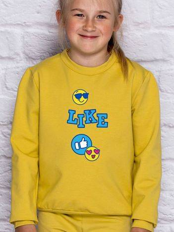 Bluza dla dziewczynki z nadrukiem emoji miodowa