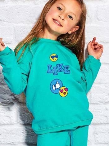 Bluza dla dziewczynki z nadrukiem emoji zielona