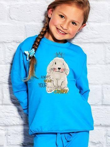 Bluza dla dziewczynki z nadrukiem królika turkusowa