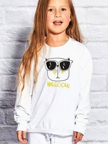 Bluza dla dziewczynki z zabawnym nadrukiem biała