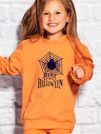 Bluza dziecięca Halloween z nadrukiem pajęczyny pomarańczowa