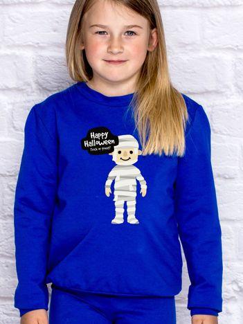 Bluza dziecięca z halloweenowym nadrukiem kobaltowa