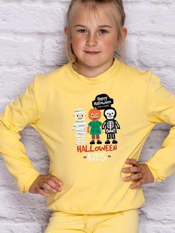 Bluza dziecięca z nadrukiem HALLOWEEN KIDS jasnożółta
