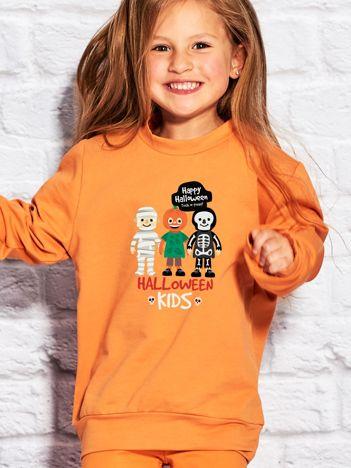 Bluza dziecięca z nadrukiem HALLOWEEN KIDS pomarańczowa