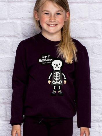 Bluza dziecięca z nadrukiem Halloween ciemnofioletowa
