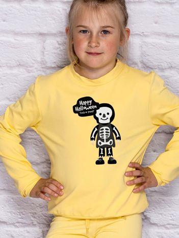 Bluza dziecięca z nadrukiem Halloween jasnożółta