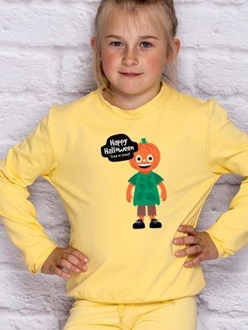 Bluza dziecięca z nadrukiem TRICK OR TREAT jasnożółta