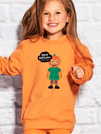 Bluza dziecięca z nadrukiem TRICK OR TREAT pomarańczowa