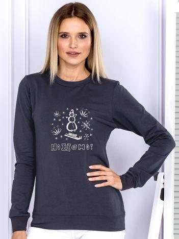 Bluza grafitowa z bałwankiem
