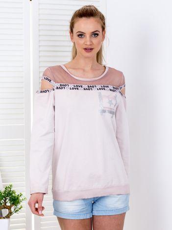 Bluza różowa z siatkową górą i wycięciami