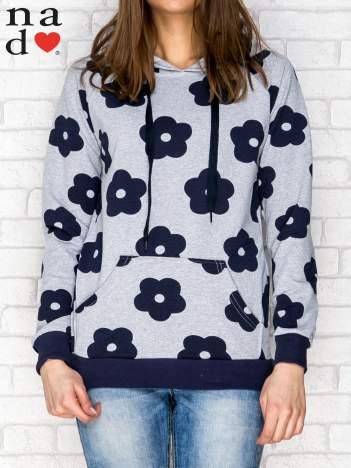 Bluza z kapturem motyw kwiatowy szaro-granatowa