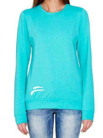 Bluza z kontrastowym logo turkusowa