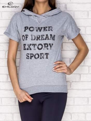 Bluza z krótkim rękawem i napisem POWER OF DREAM szara