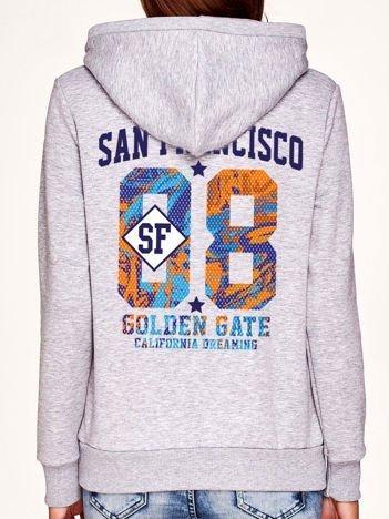Bluza z napisem SAN FRANCISCO i kapturem szara