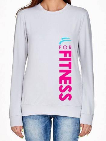 Bluza z pionowym napisem FOR FITNESS jasnoszara