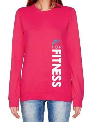 Bluza z pionowym napisem i logo FOR FITNESS ciemnoróżowa