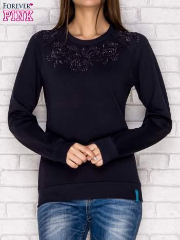 Bluza z tłoczonym kwiatowym wzorem grafitowa