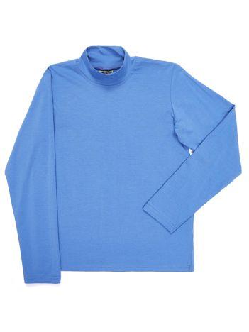 Bluzka bawełniana dziecięca jasnoniebieska z półgolfem