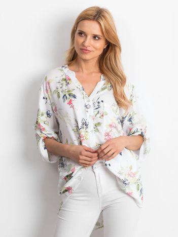 Bluzka biała w kwiatowe wzory