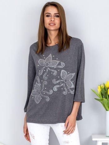 Bluzka ciemnoszara z ornamentowym wzorem z dżetów