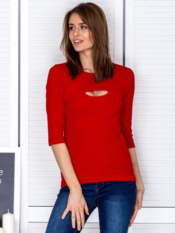 Bluzka czerwona z wycięciem na dekolcie
