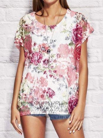 Bluzka damska koronkowa z motywem kwiatów różowa