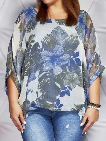 Bluzka damska z motywem exotic print ciemnoniebieska PLUS SIZE
