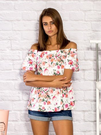 Bluzka damska z motywem floral print ecru
