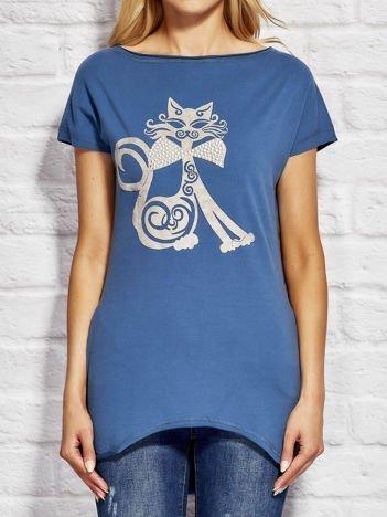 Bluzka damska z nadrukiem kota ciemnoniebieska
