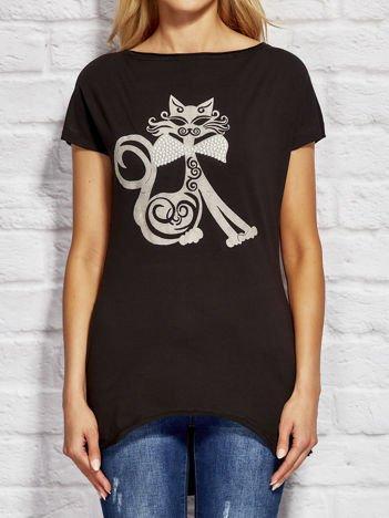 Bluzka damska z nadrukiem kota czarna
