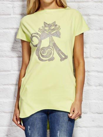 Bluzka damska z nadrukiem kota limonkowa