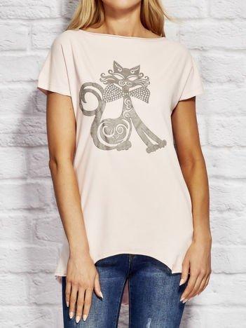Bluzka damska z nadrukiem kota różowa