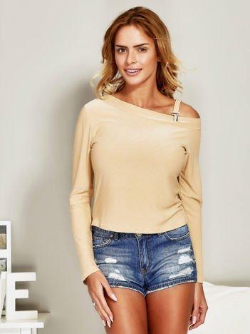Bluzka damska z przypinanym paskiem beżowa