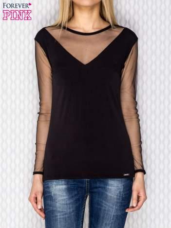 Bluzka damska z siateczkowymi wstawkami czarna