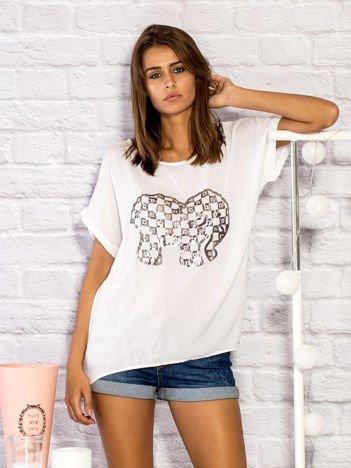 Bluzka damska ze słonikiem biała