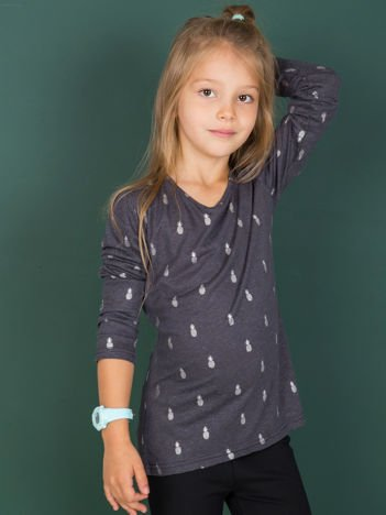 Bluzka dziewczęca ciemnoszara z motywem ananasów