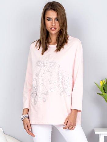 Bluzka jasnoróżowa z ornamentowym wzorem z dżetów