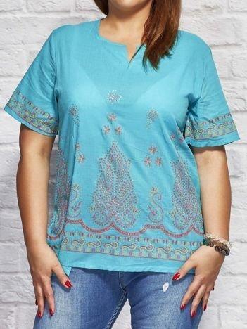 Bluzka koszulowa oversize z motywami etnicznymi niebieska