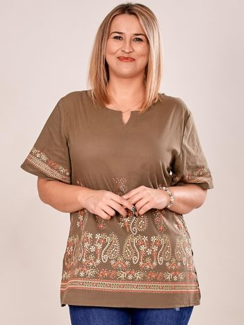 Bluzka koszulowa oversize z motywem paisley khaki