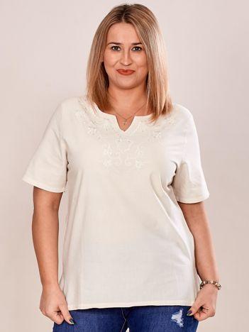 Bluzka koszulowa z haftowanym wzorem beżowa PLUS SIZE