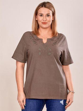 Bluzka koszulowa z haftowanym wzorem khaki PLUS SIZE