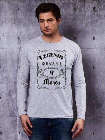 Bluzka męska szara z długim rękawem LEGENDY Z MARCA