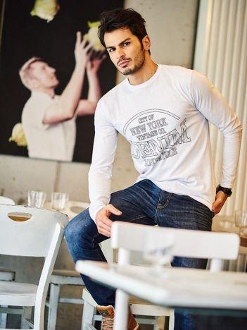 Bluzka męska z nadrukiem NEW YORK DENIM biała