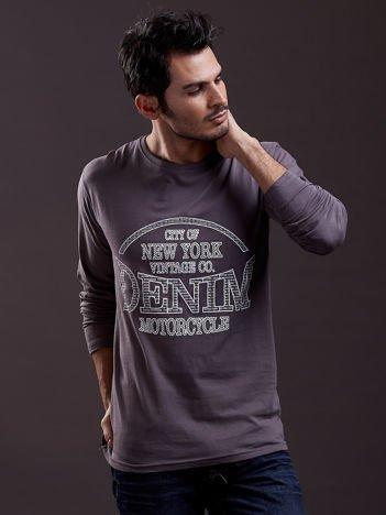 Bluzka męska z nadrukiem NEW YORK DENIM szara