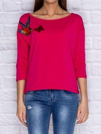 Bluzka z naszywką ptaka i motyla różowa