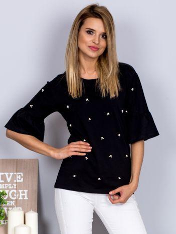 Bluzka z rozszerzanymi rękawami i perełkami czarna