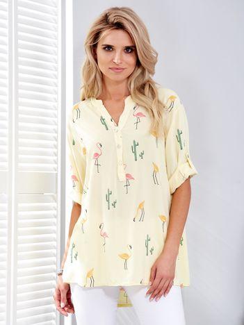 Bluzka żółta w flamingi