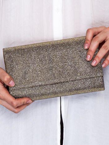 Błyszcząca brokatowa kopertówka na magnes szaro-złota